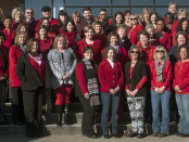 NCC wore red Friday, February 6 during National Wear Red Day to raise awareness about heart disease, the number one killer of men and women. (Photo credit: Matt Unruh)
