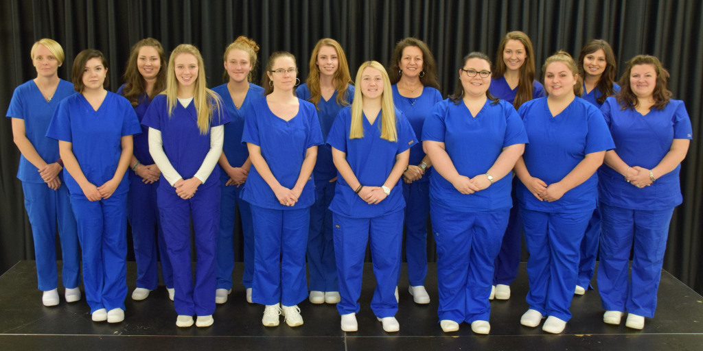 Nurse Aide I graduates (First Row, Left to Right) Julisa Romero, Nashville, NC; Amanda Wisnieski, Wendell, NC; Kathleen Shaffer, Spring Hope, NC; Rebecca Clark, Roanoke Rapids, NC; CaSandra Shelton, Rocky Mount, NC; Lydia Shirley, Nashville, NC; Ashley Roach, Bailey, NC; (Second Row, Left to Right) Kimberly Ward, Nashville, NC; Loganne Driver, Louisburg, NC; Samantha Sills, Nashville, NC; Kelli Meacomes, Bailey, NC; Harriet Tyner, Hollister, NC; Morgan Gifford, Middlesex, NC; Rachel Ransom , Rocky Mount, NC; (Not Pictured) Emily Alford, Elm City, NC; Tiesha Battle, Tarboro, NC; Dani Coley, Elm City, NC; Kelly Daniels, Zebulon, NC; Mirel Espiritu, Bailey, NC; Francheskia Fenderson, Rocky Mount, NC; Bernard Gorham, Nashville, NC; Brianna Jones, Hollister, NC; Brittney Lane, Bailey, NC; Julie Lee, Nashville, NC; Christina Marks, Battleboro, NC; Shontia Mitchell, Wilson, NC; Mamie Reason, Bailey, NC; Tabitha  Richardson, Hollister, NC; Bethany Sledge, Spring Hope, NC; Johncyne Sumler, Rocky Mount, NC