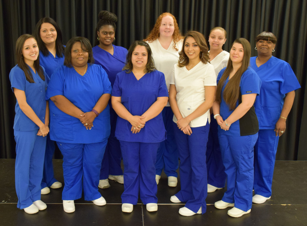 Nurse Aide II graduates (First Row, Left to Right) Shayla Farrell, Nashville, NC; Felicia Johnson, Rocky Mount, NC; Vanessa Gonzales, Spring Hope, NC; Julissa Urquizo, Bailey, NC; Hunter Viverette, Rocky Mount, NC; (Second Row, Left to Right) Rachael Medlin, Pilot, NC; Letitia James, Elm City, NC; Leslie Wester, Elm City, NC; Kaitlan Williams, Red Oak, NC; Kimberly Davis-Epps, Rocky Mount, NC; (Not Pictured) Kanvis Anderson, Statonsburg, NC; Telisa Artis, Wilson, NC; Tashika Basemore, Whitakers, NC; Mariah Bridges, Spring Hope, NC; Cassandra Bryant, Rocky Mount, NC; Chiquinta  Dickens, Rocky Mount, NC; Shirese Garrett, Rocky Mount, NC; Audrey Griffin, Battleboro, NC; Brandi Lynch, Nashville, NC; Shamara Martin, Middlesex, NC; Leah Overby, Middlesex, NC; Latonya Roberts, Hobgood, NC; Maxine Tucker, Rocky Mount, NC