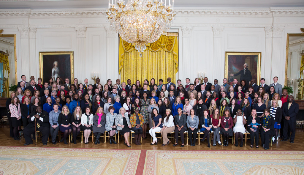 First Lady Michelle Obama joins representatives from Healthy Campus Challenge winning schools, including NCC representatives, for a group photo during the Affordable Care Act (ACA) Healthy Campus Challenger Winner Day in the East Room of the White House, Jan 13, 2017. (Official White House Photo by Lawrence Jackson) Note disclaimer below.